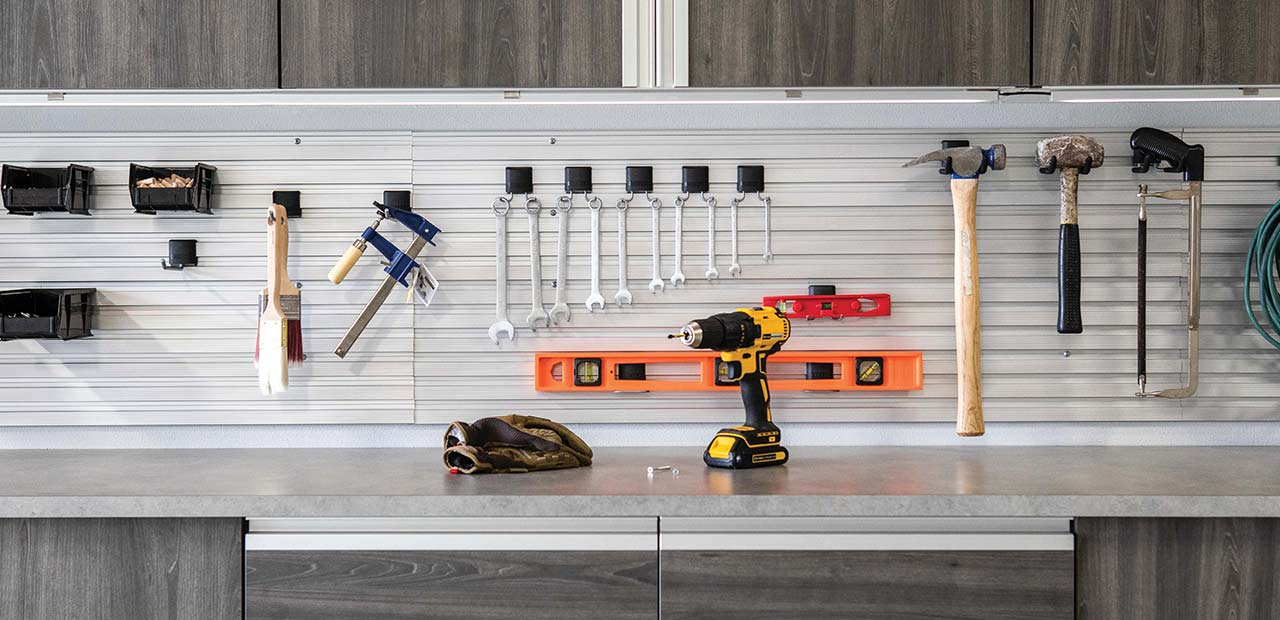 garage slatwall with accessories