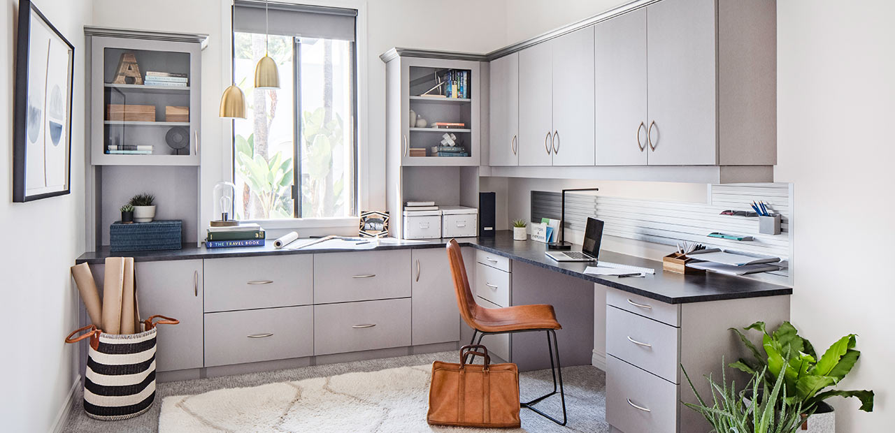 gray home office storage