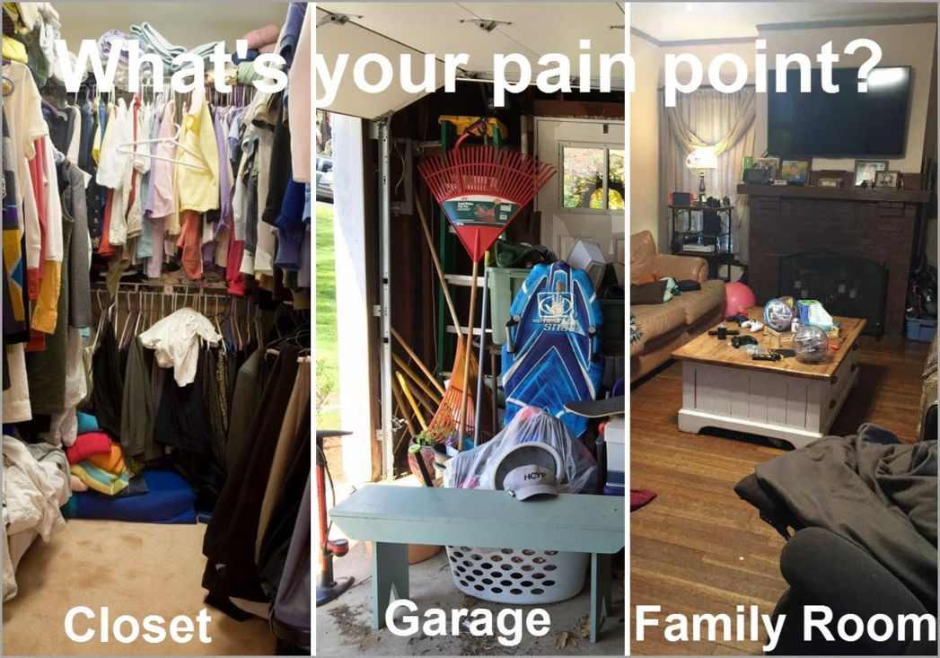 Closet Garage and Family Room Clutter