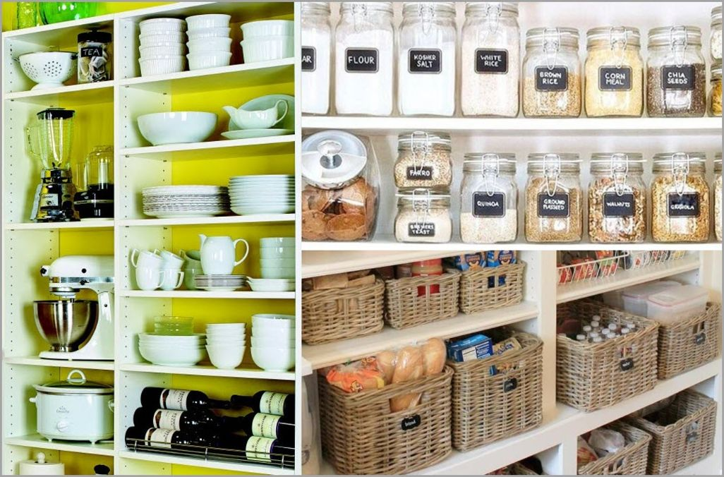 Jars and Woven Baskets in Pantry