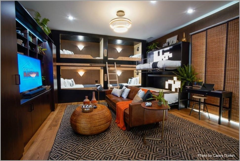 Murphy beds and entertainment center in bunkhouse