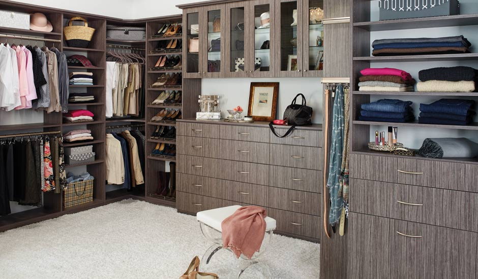 brown master walk-in closet