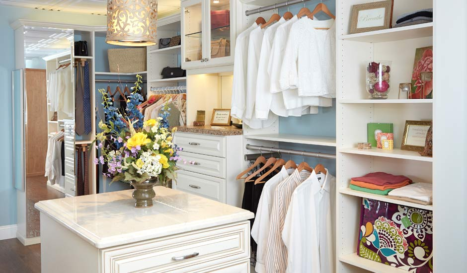 his and hers antique white walk-in closet