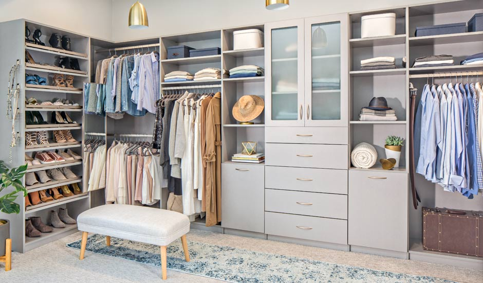 grey his and hers walk-in closet