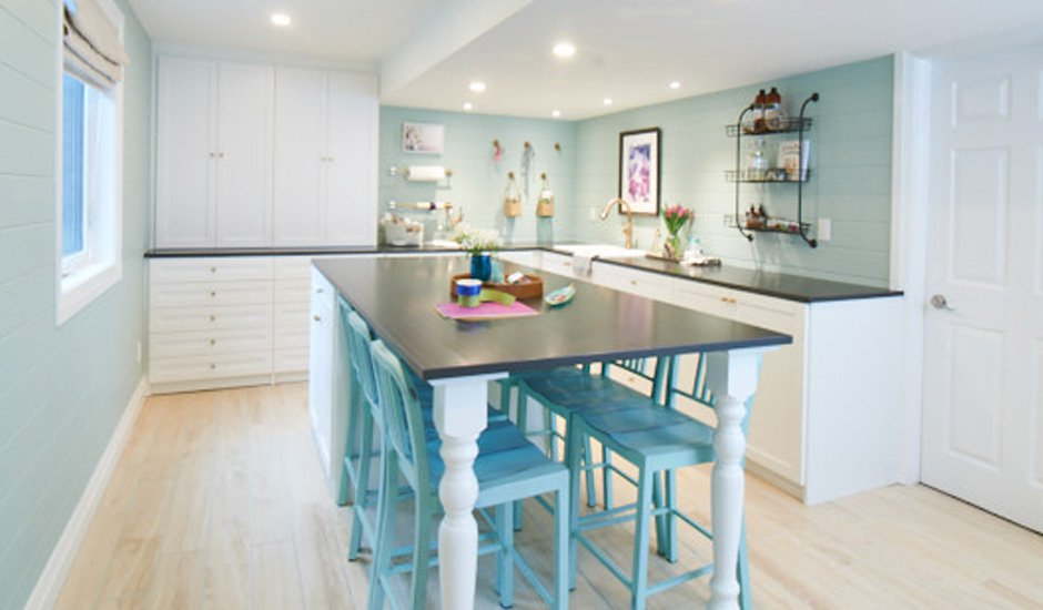 white and blue custom craft room