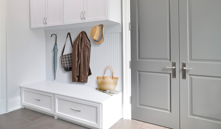 white storage entryway