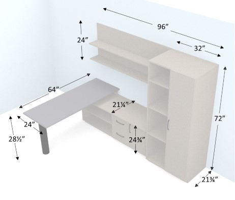 96 Inch Home Office Set Dimensions