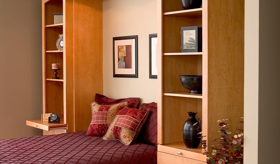 wood murphy bed open