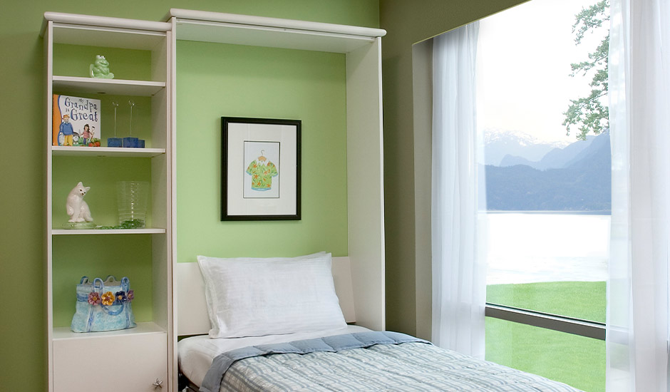 white murphy bed open