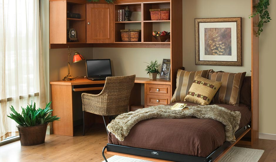 brown murphy bed open