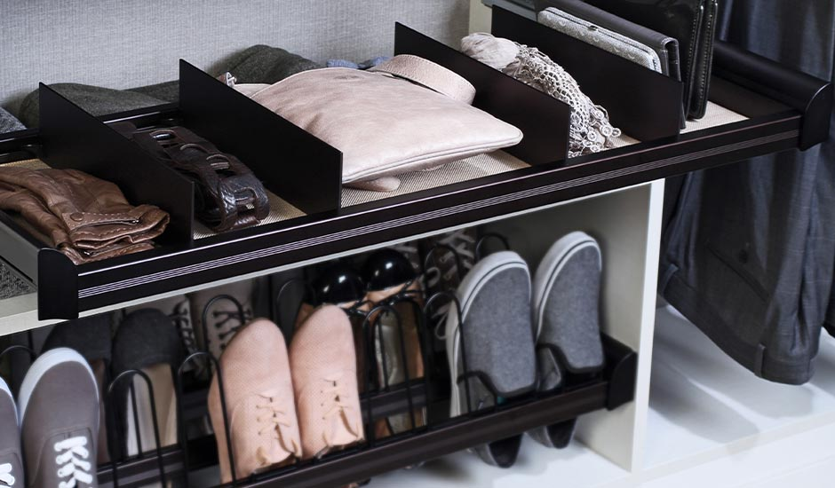 divided shelf and shoe organizer