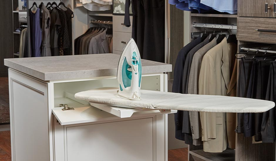 island pullout ironing board in closet