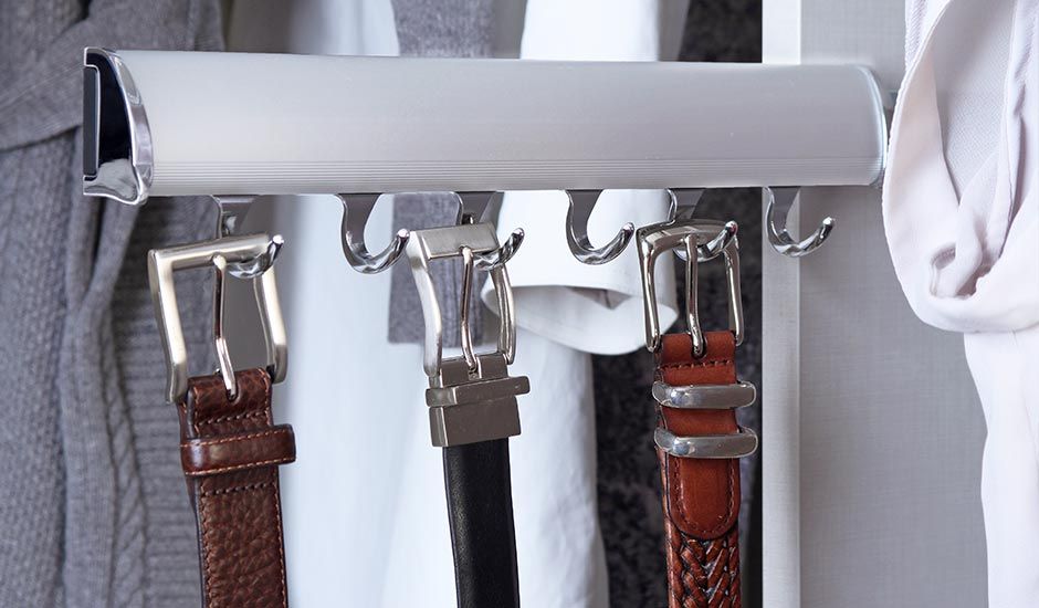 slide out belt rack closet accessory