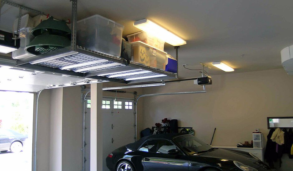 overhead storage racks in garage