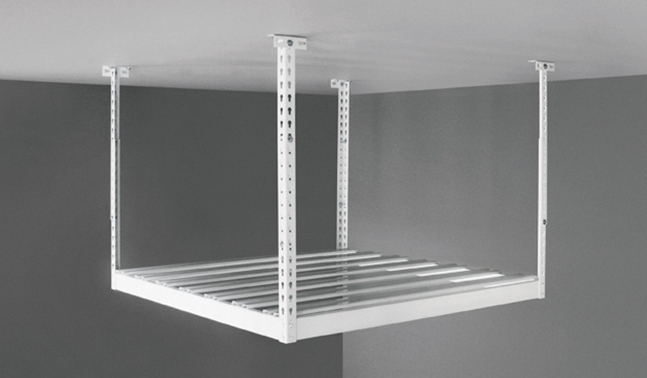 white overhead storage rack