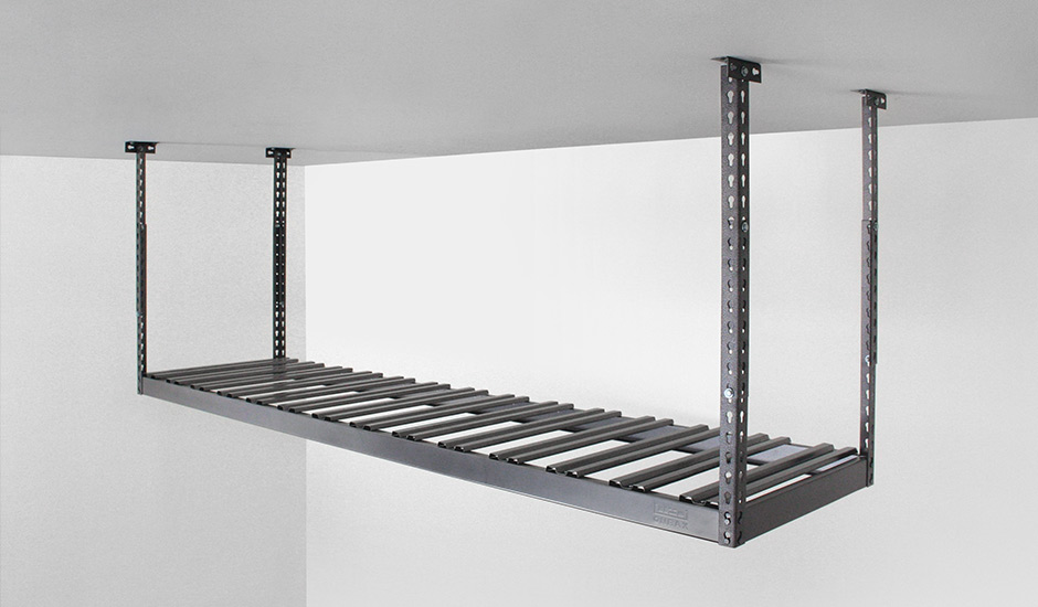 gray onrax overhead storage rack