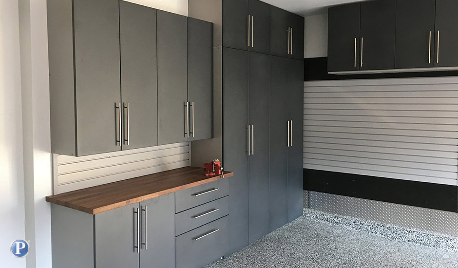 grey garage cabinets and slatwall