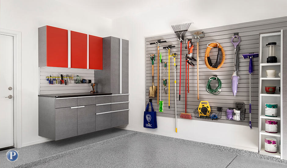 red powder coated garage cabinets and accessories