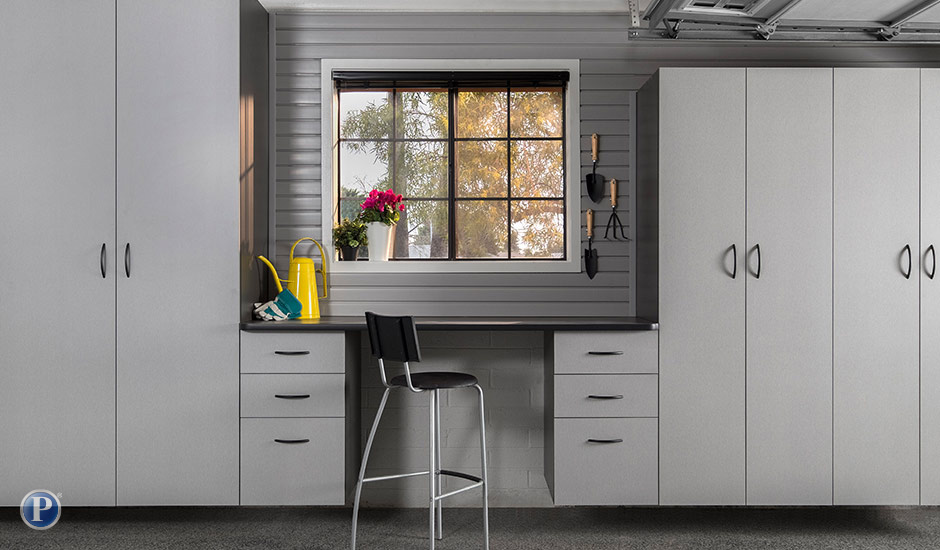 gray garage cabinets and storage