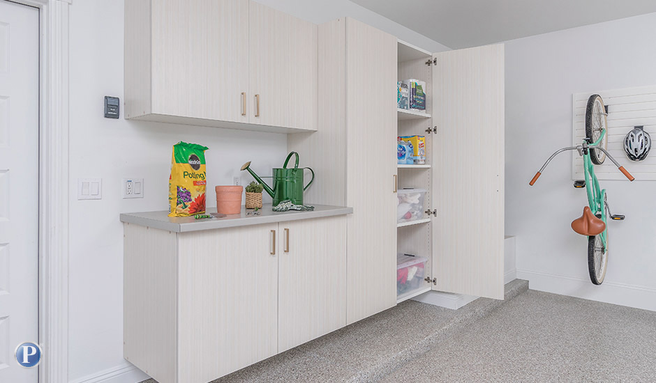 white chocolate garage cabinets and countertop