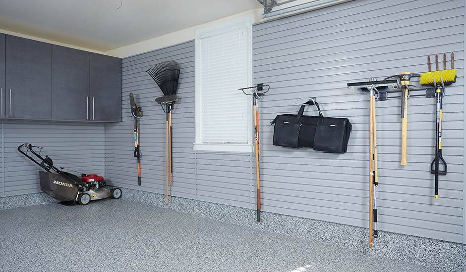 vertical wall storage slatwall lawn equipment