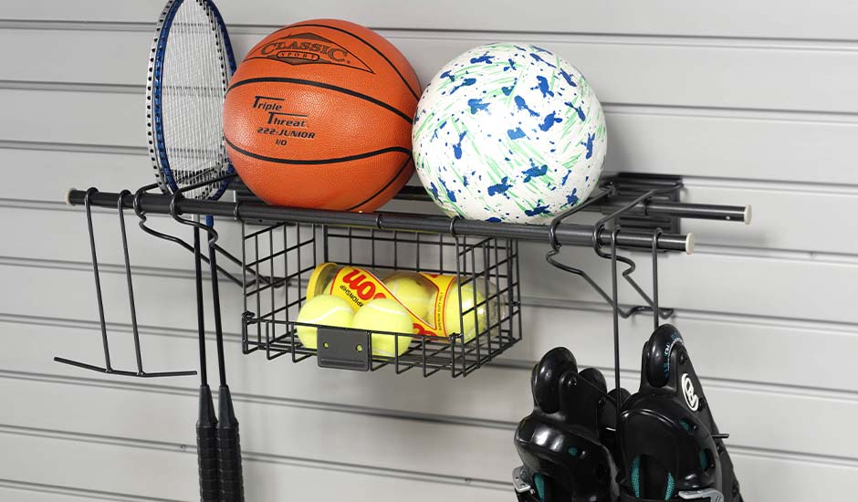slatwall and sports equipment shelf
